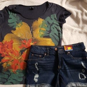 Lucky Brand Tee and NWT Faded Glory Jean Shorts